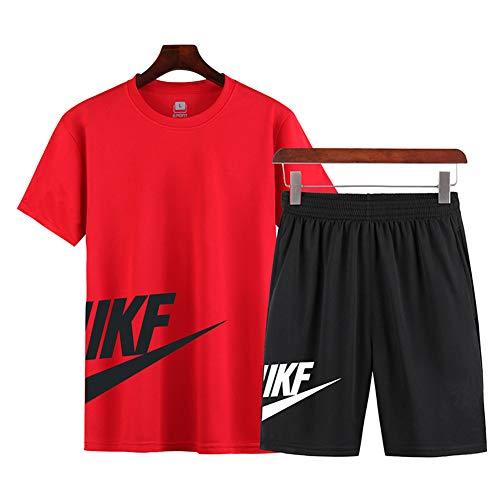 Tuta Sportiva da Uomo Estiva, Maglietta A Maniche Corte + Pantaloncini, Tuta Ad Asciugatura Rapida, Utilizzata per Esercizi in Palestra E Corsa (L,Red)