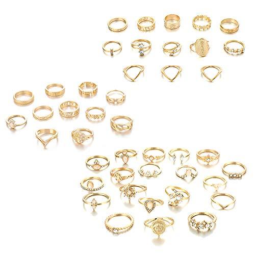Huture 43 Stücke Midi Ringe für Damen Knuckle Ring Sets Fingerring Vintage Stapelbar Ringe Gold Ringe für Frauen Böhmischen Mode Finger Stapelbar Ringe Nagel Finger Band Perfekte Geschenkauswahl
