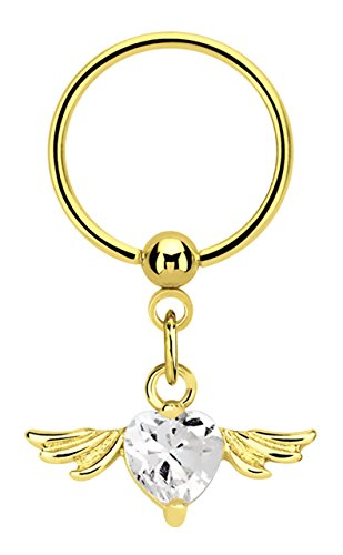 Modern Nature Piercing-Schmuck Intimpiercing Ring BCR Stahl PVD Gold 1,2 x 10 mm mit Flügel und Herz in klar