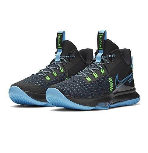 Nike Unisex Lebron Witness 5 Basketball Shoe, Black/Lagoon Pulse-Green Strike, 42.5 EU