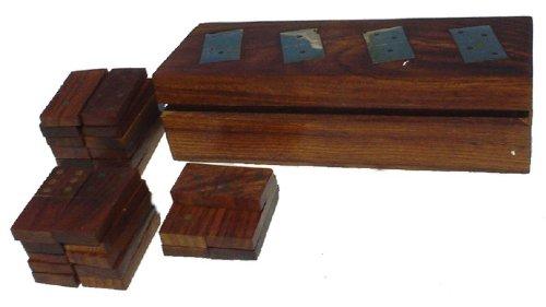 Guru-Shop Bordspel, Houten Gezelschapsspel - Dominospel, Bruin, 5x20x7,5 cm, Bordspellen Behendigheidsspellen