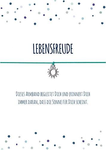 Spruch - Armband LEBENSFREUDE mit Sonne Anhänger versilbert, elastischem Textilband in türkis und liebevoller Karte: .DASS die Sonne für Dich scheint