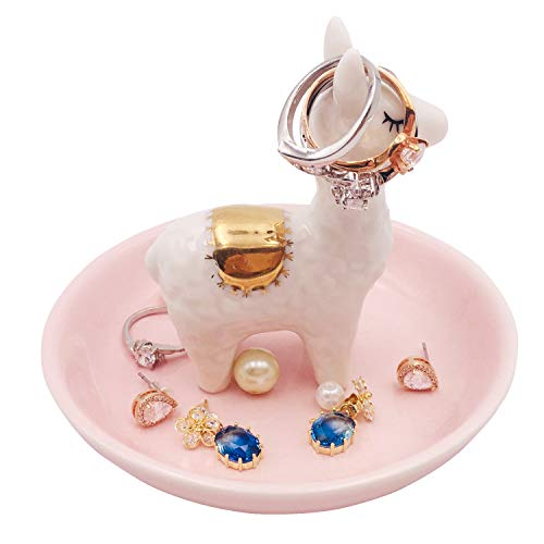 ROSA&ROSE Ceramic Ring Holder for Mom Gift Dish and Tray for Jewelry Porcelain Jewelry Tray Trinket Plate Valentine Gift (Sheep-White)
