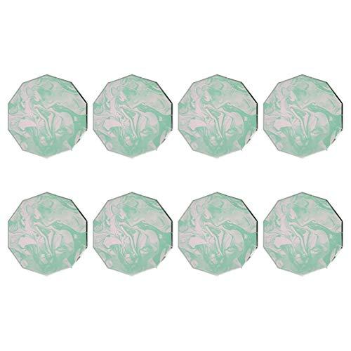 HEMOTON Lot de 8 assiettes à gâteau en marbre vert - Assiettes à gâteau en carton vert - Set de vaisselle tendance pour goûter ou fête d'anniversaire - Pour la maison