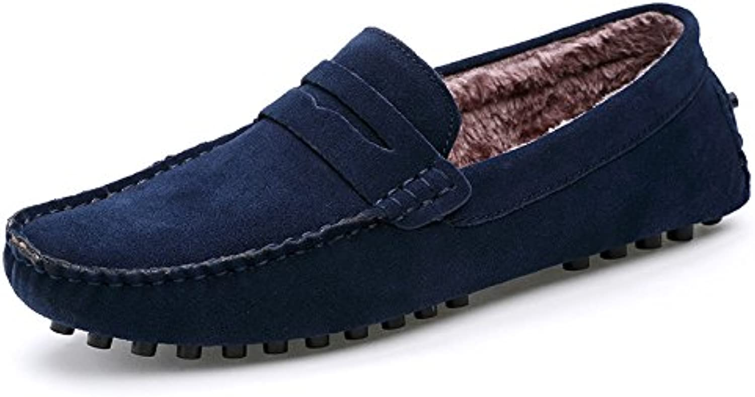 Men's fashion casual bean shoes, peas shoes add velvet, men lazy foot pedal bean shoes,Deep bluee,Thirty-nine