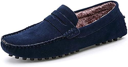 La mode masculine décontracté bean bean bean chaussures, petits pois chaussures ajouter velvet, hommes paresseux pédale bean chaussures,deep bleu,quarante - cinq 9a4