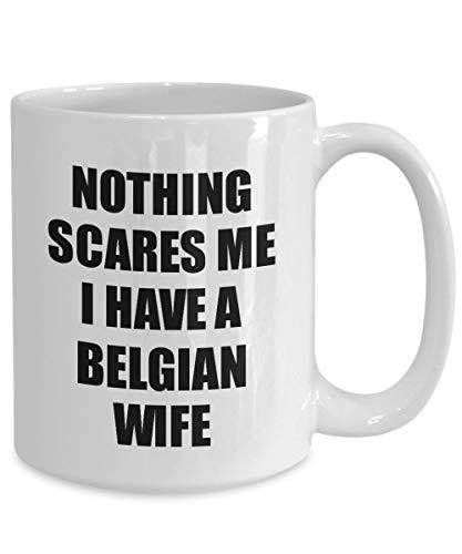 Belgische vrouw beker grappig Valentijnsgeschenk voor man Mijn echtgenoot hem België Wifey Gag niets macht Mir angst koffie thee mok