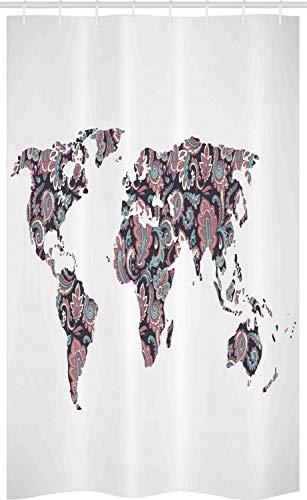 ABAKUHAUS orientalisch Schmaler Duschvorhang, Paisley Blätter, Badezimmer Deko Set aus Stoff mit Haken, 120 x 180 cm, Türkis Korallenrot Pflaume