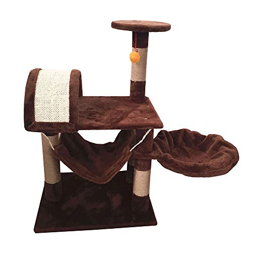 W.KING Kratzbaum, Katzenturm Kleine mit Sisal-Covered Kratz, Kitty Activity Center Baum mit Padded Plüsch Perch, Kitten Play House mit Spielzeug-Kugel und Cradle Bed,Braun