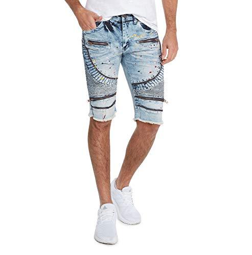 BLEECKER & MERCER Moto Ripped and Repaired Denim Jeans Shorts-Ice Indigo-32