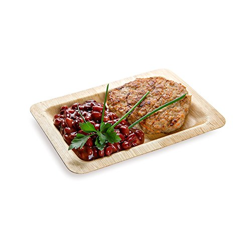 "Rectangle Bamboo Leaf Plate - 8"" Bamboo Plate - Heavy Duty - Disposable - 100ct Box - Restaurantware"