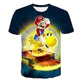 Jeux d'enfance Super Mario Bros 3D imprimé T-Shirt Unisexe Animation Super Mario imprimé col Rond Ultra Respirantes Manches Courtes (3244,130cm)
