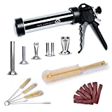 WILDDIGIT Beef Jerky Gun, 1 LB Stainless Steel Jerky Maker Gun, Easy Clean Stainless Steel Jerky Making Kits, Handheld Sausage Stuffers with 5 Pcs Beef Stick & Flat Strip Nozzles and 6 Pcs Brushes
