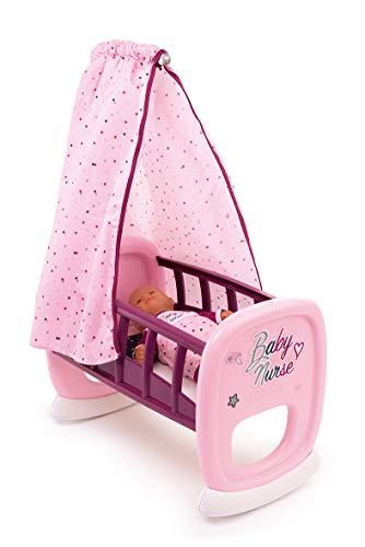 Smoby 220338 Baby Nurse poppenwiege met hemel, poppenbed, voor kinderen vanaf 18 maanden, roze, lila