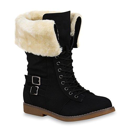 Damen Schuhe Schnürstiefel Warm Gefütterte Stiefel Kunstfell Schnallen 153148 Schwarz Aurtol 36 Flandell