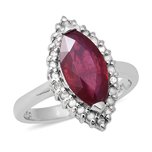 TJC Ruby Halo Ring for Women in 925 Sterling Silver Anniversary Jewellery Size R with White Diamond, TCW 4.17ct