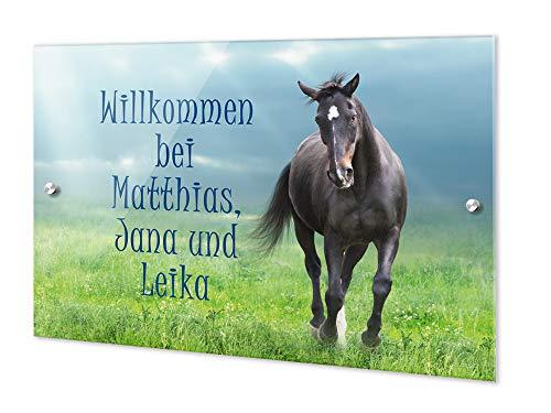 GRAZDesign gepersonaliseerde deurbordjes paard - naambordje huisdeur Welkom bij / 200275 21x15cm Motief: weide met paard