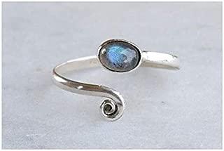 Grey Blue Labradorite Stone Toe ring 925 Solid Sterling Silver Girl Women Body Jewellery Adjustable Toe Ring