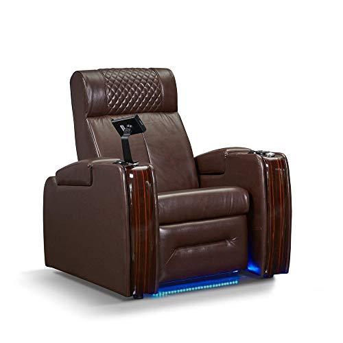 Zinea Kinosessel Western - 1 Sitzer - Echtleder, elektrisch verstellbar, LED Becherhalter, Ambientebeleuchtung, Kinosofa, Kinositz - Sofort Lieferbar