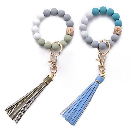 2 piezas llavero pulsera para mujer – llavero de silicona círculo borla llavero brazalete titular para casa coche llaves