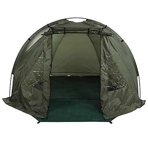 Zerone Angelzelt, Tragbare Wasserdicht Karpfenzelt aus Oxford-Stoff und Glasfaser Campingzelt mit 2 Fenstern für Outdoor-Aktivitäten, 215 x 121 x 118 cm