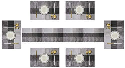 6er Platzdeckchen mit einem Tischläufer,Eageroo Rutschfest Abwaschbar Tischmatten aus PVC Abgrifffeste Hitzebeständig Tischsets Schmutzabweisend,Braun (6er Platzsets mit einem Tischläufer,Type F)