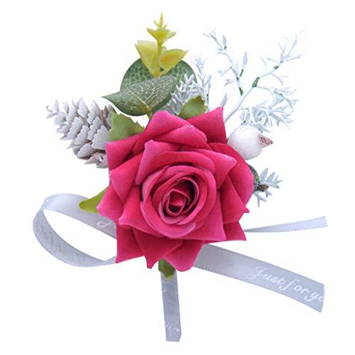 Bobury Broche Insignias Cuatro P/étalos Flor Roja Rhinestone Banquete Broche Pin Accesorios de Ropa