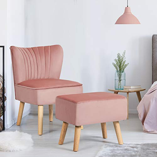 COSTWAY Velvet Accent Chair, Armless Side Dining Chair with Ottoman, Fabric Upholstered Padded Occasional Wingback Leisure Chair for Dressing, Lounge, Kitchen and Office (Pink)