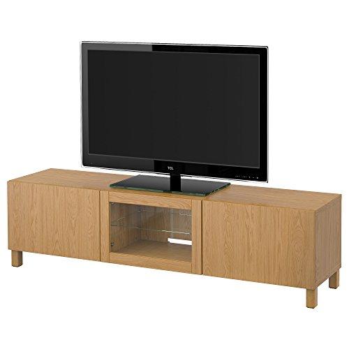 IKEA BESTA - Mueble TV con cajones y puertas de vidrio claro efecto roble Lappviken