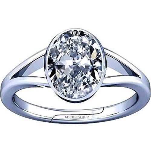 Divya Shakti 9.25-9.50 Carat American Diamond Oval Zircon Gemstone Silver Adjustable Ring for Men & Women