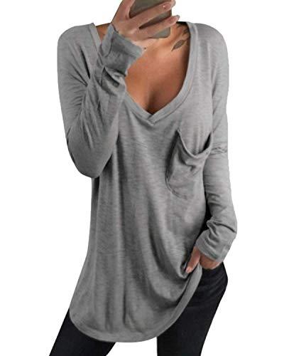 kenoce Tshirt Damen Langarm Tunika Pullover V-Ausschnitt Asymmetrischer Oberteile Shirt Langarmshirt Casual Sexy Sweatshirt Grau S