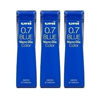 Uni Mechanical Pencil Lead Nano Dia Color 0.7mm, Blue (U07202NDC.33), 20 Leads �3 Pack/total 60 Leads (Japan Import) [Komainu-Dou Original Package]