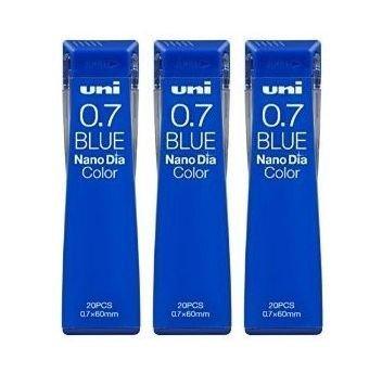 Uni Mechanical Pencil Lead Nano Dia Color 0.7mm, Blue (U07202NDC.33), 20 Leads ×3 Pack/total 60 Leads (Japan Import) [Komainu-Dou Original Package]