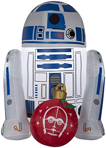 Star Wars R2D2 4FT Christmas Inflatable Outdoor Yard Decoration -Lights Up with LED - Easy Set-Up -Self Inflating