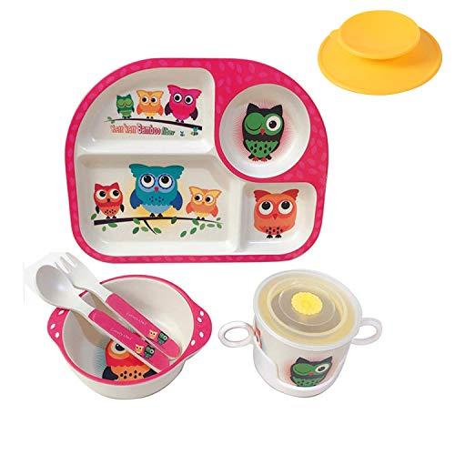 Shopwithgreen - Juego de 5 piezas de fibra de bambú para niños, plato de comida, cuenco, cuchara, tenedor, vajilla, vajilla de dibujos animados, apto para lavavajillas