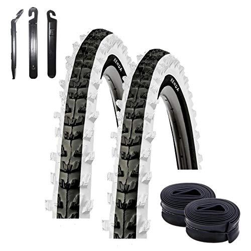 maxxi4you - Set di 2 copertoni Kenda K-829 da 26' per mountain bike, colore nero/bianco, 50-559 (26 x 1.95) + 2 tubi DV con 3 leve per pneumatici