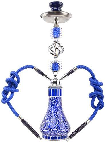 JINFAN Shisha Hookah Set 2 Mangueras Hookah Pipe Smoking Party Set Shisha Set para Cafe Bar Nightclub (sin Nicotina),Blue1