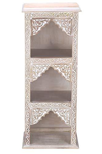 Regal aus Holz massiv schmal in Weiss Asmara 87cm hoch für Bad oder Küche | Braunes Standregal ohne bohren für...