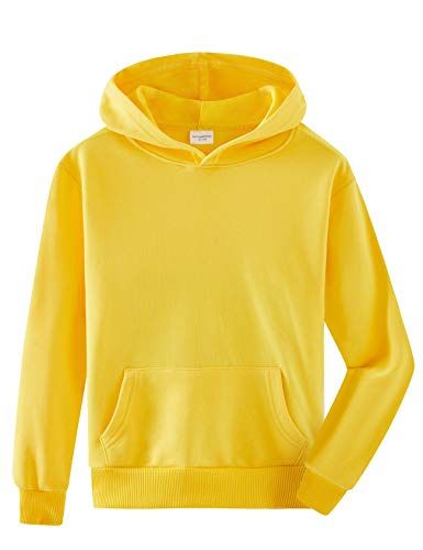 Spring&Gege Youth Solid Pullover Sport Hoodies Soft Kids Hooded Sweatshirts for Boys and Girls Size 11-12 Years Yellow
