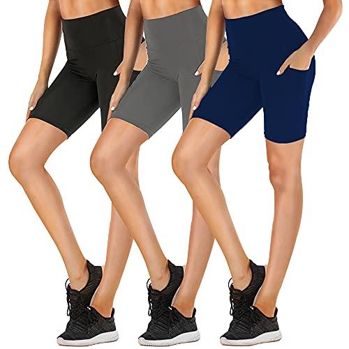 "FULLSOFT 8"" Biker Shorts for Women High Waist with Pockets - Workout Shorts for Running Yoga Athletic"