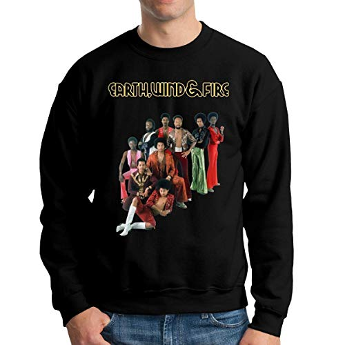 Tengyuntong Felpe con Cappuccio, Earth Wind & Fire Shirt Men's Long Sleeve Crew Neck Sweatshirt Hoodie