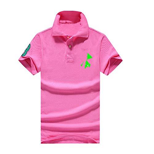 N\P Camiseta de manga corta para hombre de verano con bordado de solapa