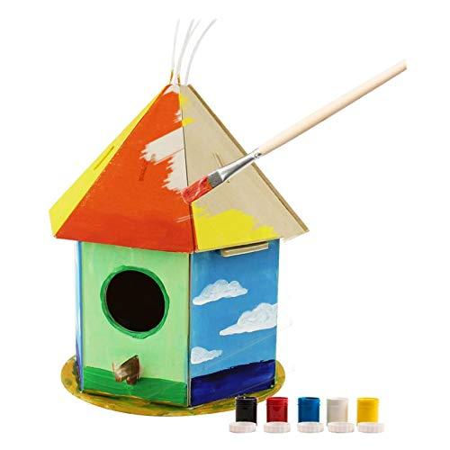 Robotime 3D Hölzernes Puzzle - Vogelhaus Mit Malerei Werkzeuge Kind Pädagogisches Woodcraft Puzzlespiel-Spielzeug DIY Installationssatz (Bird House 2)