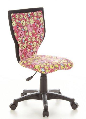 hjh Office Kiddy Lux Siège de bureau pour enfant pivotant - Tissu 100% Coton - Rose/Jaune Motif Smiley