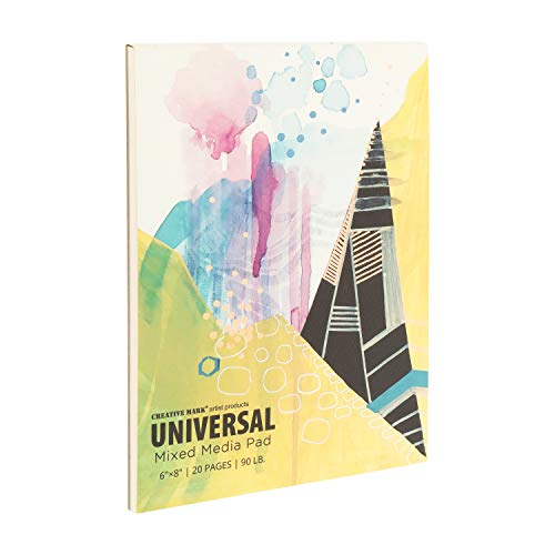 Creative Mark Universal Mixed Media Pad 20 Sheets 90 lb. (200gsm) Glue Bound Paper Stock for Watercolor, Acrylic, Pens and Pencils, [6 x 8 Inch]