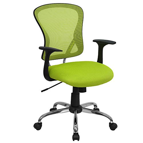 Flash Furniture Mid-Back Green Mesh Swivel Task Office Chair with Chrome Base and Arms