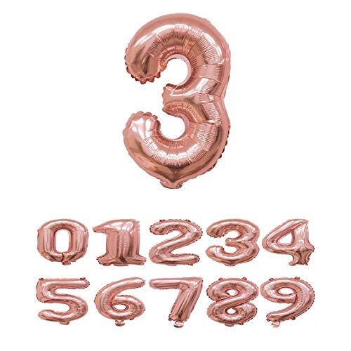 Haioo Globo Número de Cumpleaños en Metalizado Ideal para Fiesta de cumpleaños y Aniversarios Hinchable y Deshinchable (Oro Rosa 3)