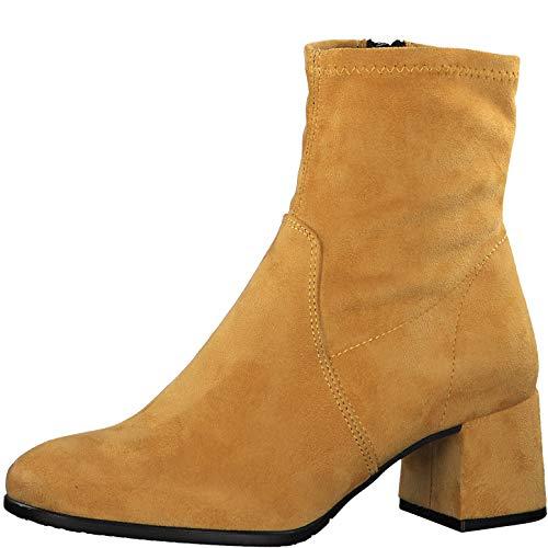 Tamaris Damen Stiefeletten, Frauen Klassische Stiefelette, Abend elegant Feier Stiefel Boot halbstiefel Bootie reißverschluss,Mustard,40 EU / 6.5 UK