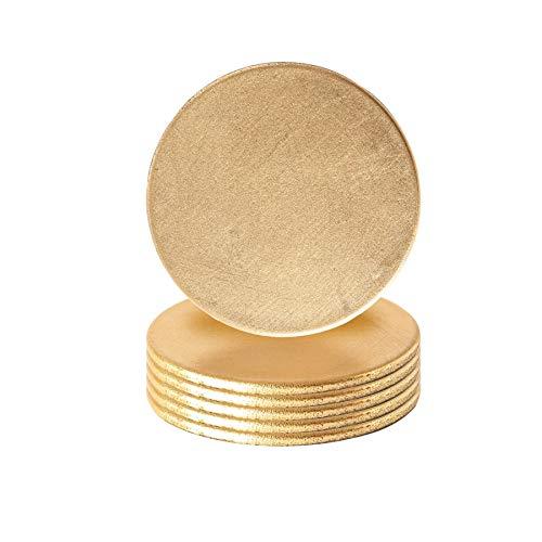 Argon Tableware 6 pièce métallique Coaster Set - Finition métallique - 10 cm - Or