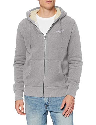 Superdry Heren Ol Winter Zip Hood Sweater, Grey Marl Birdseye, XS